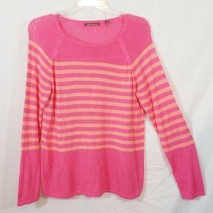 525 America pink & peach striped sweater L